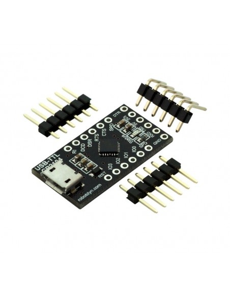 USB-Serial adapter/microcontroller CP2104, 5V/3.3V, digital I/O, Micro-USB