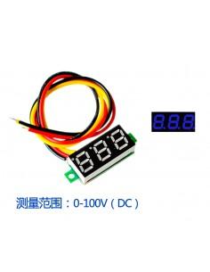 "DC Voltmeter 0.28"" 0-100V Three Wire BLUE"